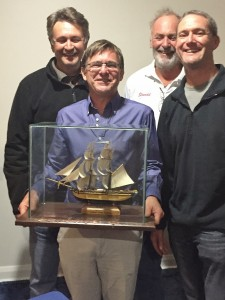 The crew and trophy! Many illustrious yacht names on this trophy. (absent, Mike Foster)